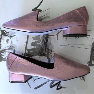 Asos Pink Metallic Loafers flats heels size 9
